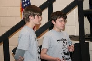 TCMS Robotics Students Dylan Youngblood and Liam King